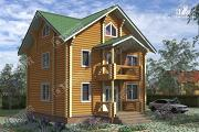 Фото: трёхэтажный дом из бревна