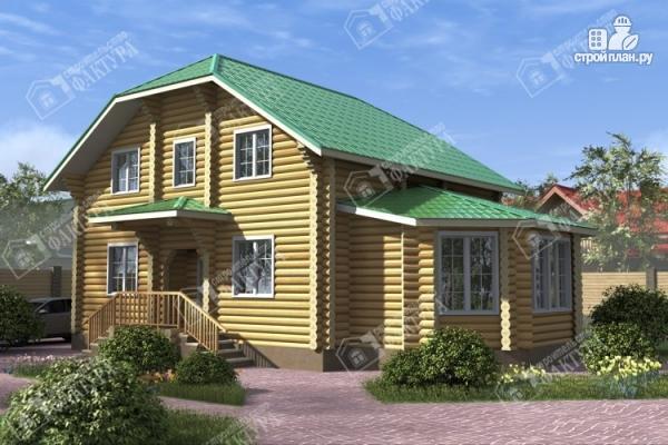 Фото: проект дом из бревна с зимним садом
