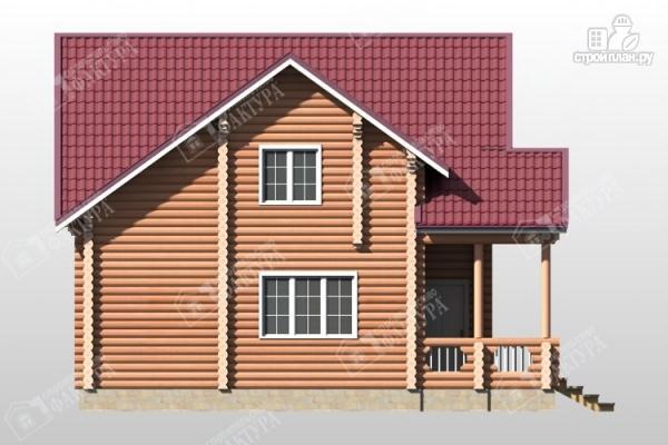 Фото 7: проект бревенчатый дом с крыльцом и балконом