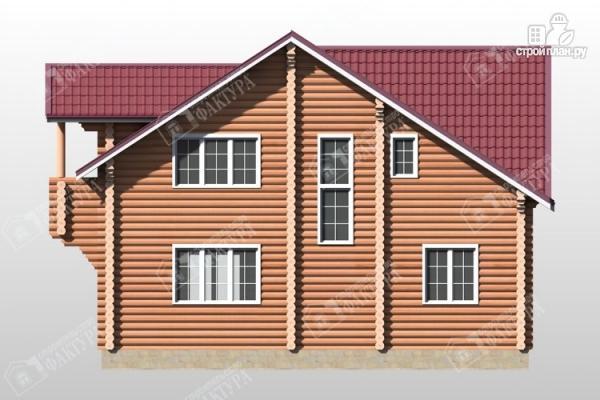 Фото 6: проект бревенчатый дом с крыльцом и балконом
