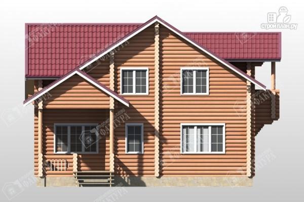 Фото 4: проект бревенчатый дом с крыльцом и балконом