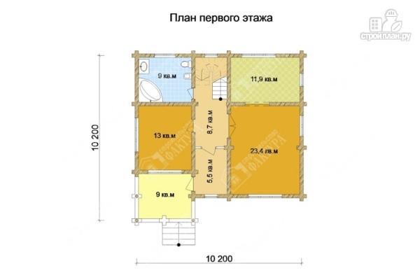 Фото 2: проект бревенчатый дом с крыльцом и балконом