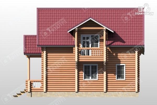 Фото 5: проект бревенчатый дом с крыльцом и балконом