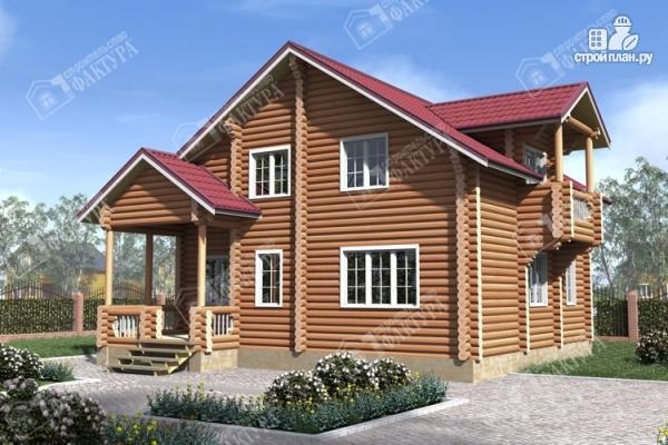 Фото: проект бревенчатый дом с крыльцом и балконом