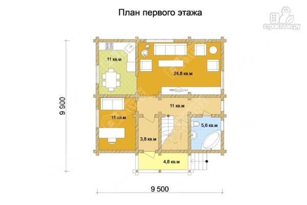 Фото 2: проект дом из оцилиндрованного бревна с мансардным этажом и балконом