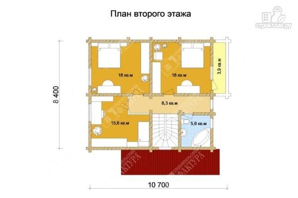 Фото 3: проект дом из оцилиндрованного бревна с мансардным этажом и балконом