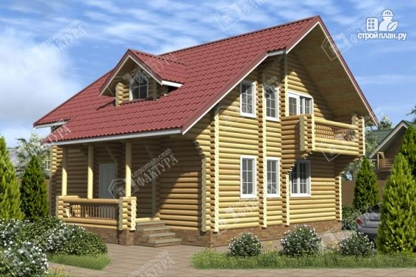 Фото: проект дом из оцилиндрованного бревна с мансардным этажом и балконом