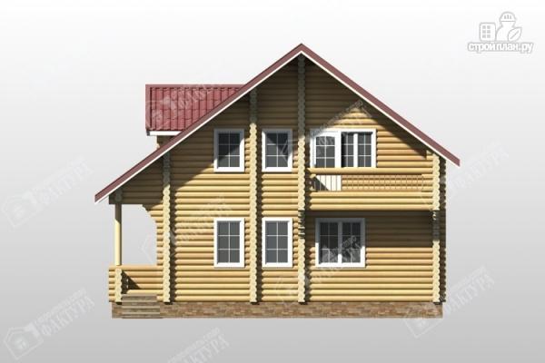 Фото 4: проект дом из оцилиндрованного бревна с мансардным этажом и балконом