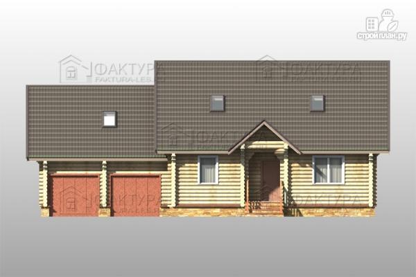 Фото 4: проект дом из бревна с гаражом на две машины