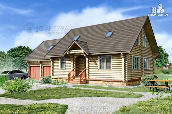 Фото: проект дом из бревна с гаражом на две машины