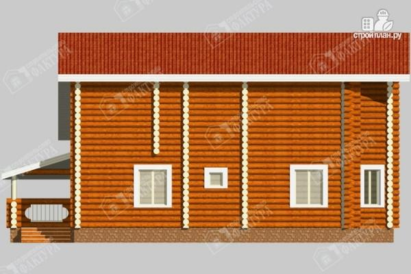 Фото 7: проект бревенчатый дом с двухсветным залом и террасой