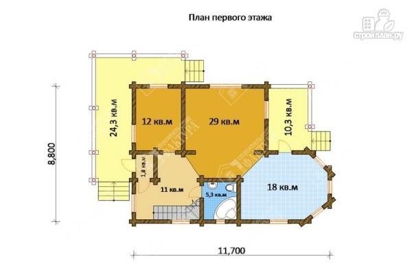 Фото 2: проект бревенчатый дом с двухсветным залом и террасой