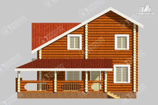 Фото 6: проект бревенчатый дом с двухсветным залом и террасой