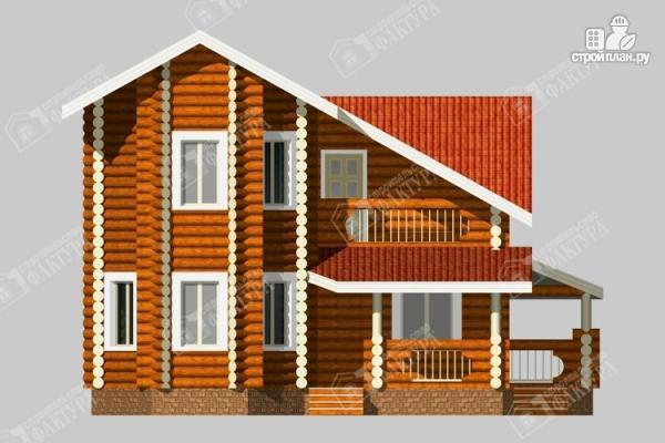 Фото 4: проект бревенчатый дом с двухсветным залом и террасой