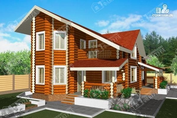 Фото: проект бревенчатый дом с двухсветным залом и террасой