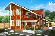 Фото: бревенчатый дом с двухсветным залом и террасой