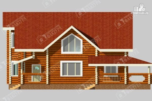 Фото 5: проект бревенчатый дом с двухсветным залом и террасой