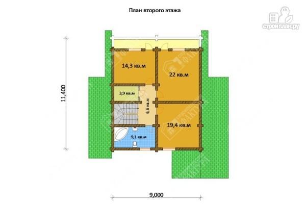 Фото 3: проект просторный дом из бревна с террасой