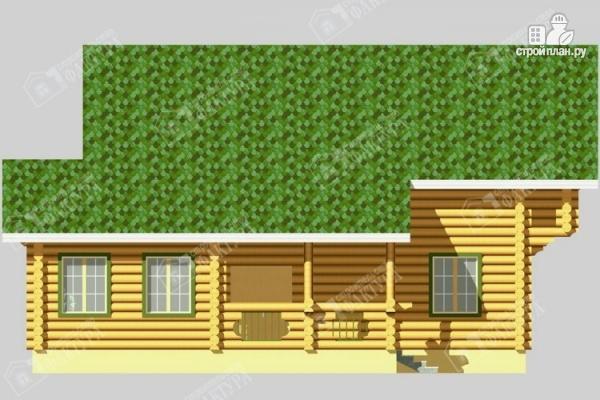 Фото 5: проект просторный дом из бревна с террасой