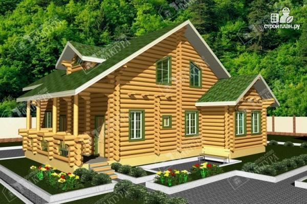 Фото: проект просторный дом из бревна с террасой