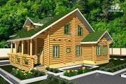 Фото: просторный дом из бревна с террасой