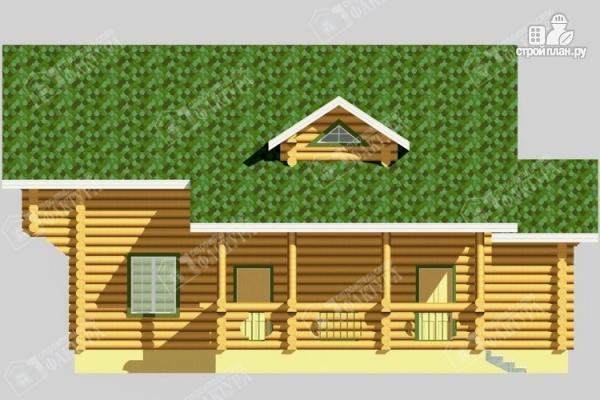 Фото 7: проект просторный дом из бревна с террасой