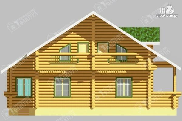 Фото 6: проект просторный дом из бревна с террасой