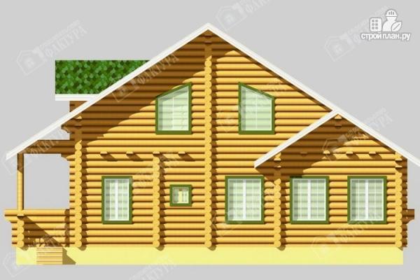 Фото 4: проект просторный дом из бревна с террасой