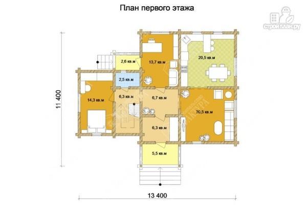 Фото 2: проект большой дом из бревна 220 мм