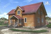 Фото: большой дом из бревна 220 мм