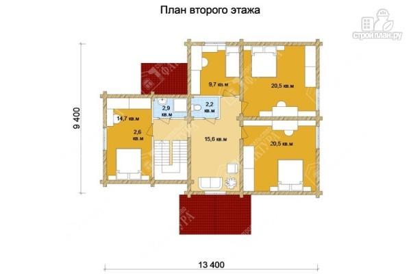 Фото 3: проект большой дом из бревна 220 мм