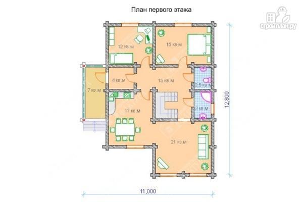Фото 2: проект просторный бревенчатый дом для большой семьи