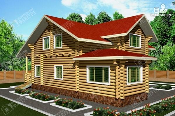Фото: проект бревенчатый дом с двухсветным залом