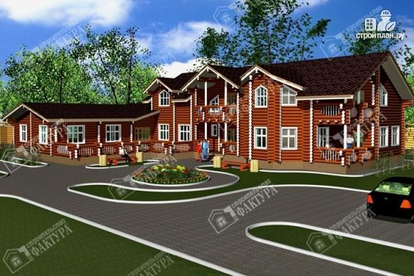 Фото: проект дом-поместье из бревна