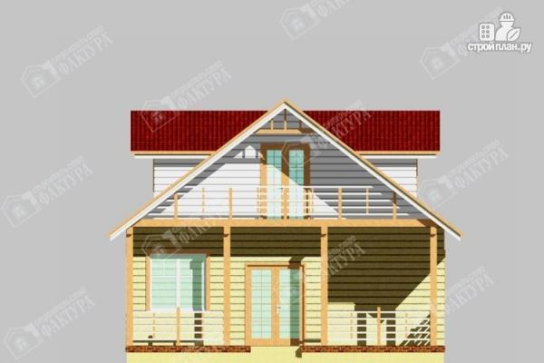 Фото 4: проект дом из бревна с мансардным балконом