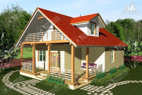 Фото: проект дом из бревна с мансардным балконом