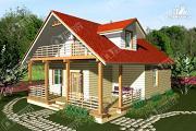 Проект дом из бревна с мансардным балконом