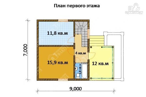 Фото 2: проект дом 7х9 из бруса с крыльцом-террасой