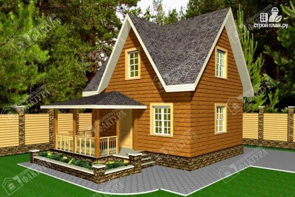 Фото: проект дом 7х9 из бруса с крыльцом-террасой