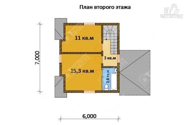 Фото 3: проект дом 7х9 из бруса с крыльцом-террасой