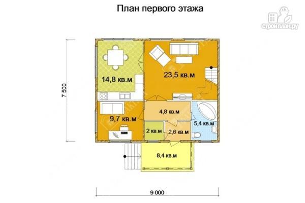 Фото 2: проект двухэтажный дом из пиленного бруса с мансардой