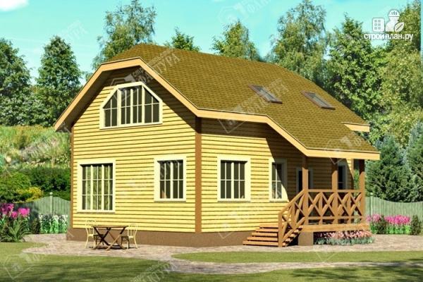 Фото: проект двухэтажный дом из пиленного бруса с мансардой