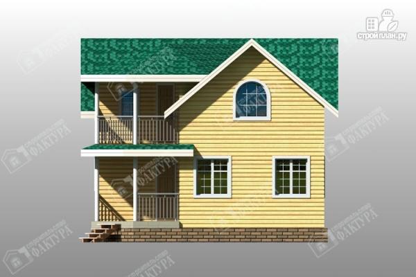 Фото 4: проект дом 8х8 из бруса с балконом