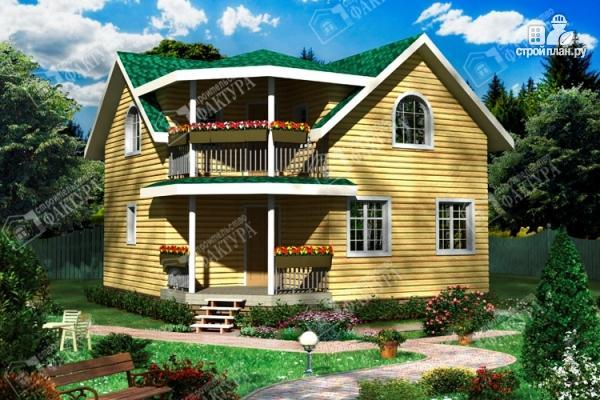 Фото: проект дом 8х8 из бруса с балконом