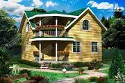 Проект дом 8х8 из бруса с балконом