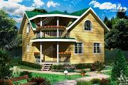 Фото: дом 8х8 из бруса с балконом