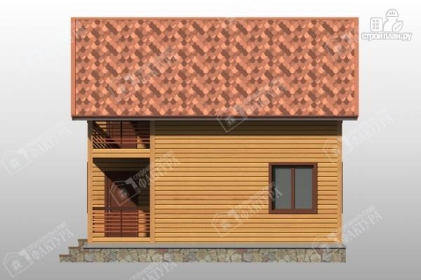 Фото 5: проект дом 8х8 из бруса с террасой и балконом