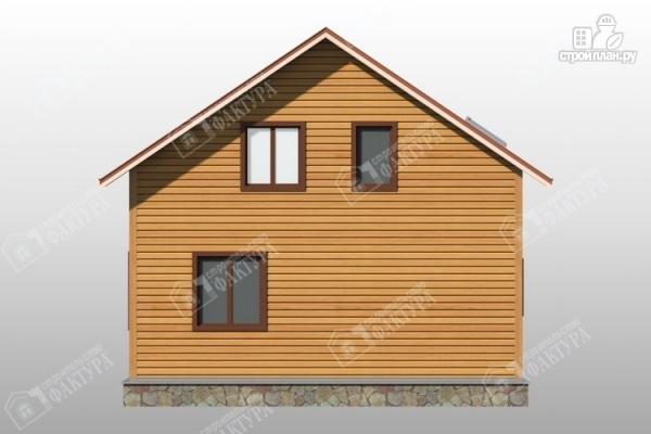 Фото 6: проект дом 8х8 из бруса с террасой и балконом