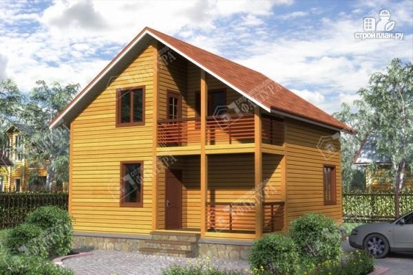 Фото: проект дом 8х8 из бруса с террасой и балконом