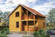 Фото: дом 8х8 из бруса с террасой и балконом